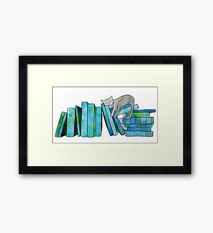 Literary Naps Blue Framed Print