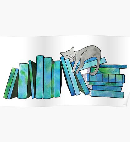 Literary Naps Blue Poster