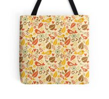 Retro Autumn BIrds and Leaves Tote Bag