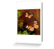 Rustic Brown Butterflies Digital Art Greeting Card
