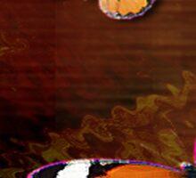 Rustic Brown Butterflies Digital Art Sticker