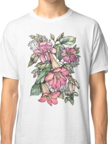 Red Trumpet Vine flowers on blue Classic T-Shirt