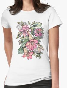 Red Trumpet Vine flowers on blue Womens Fitted T-Shirt