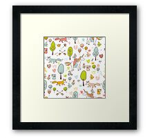 Fairytale pattern with princess, unicorn in the forest Framed Print