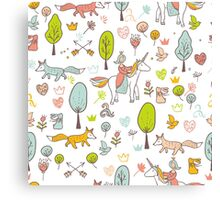 Fairytale pattern with princess, unicorn in the forest Canvas Print