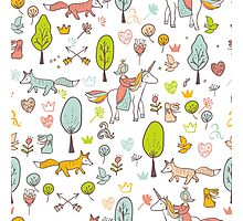 Fairytale pattern with princess, unicorn in the forest Photographic Print