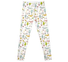 Fairytale pattern with princess, unicorn in the forest Leggings