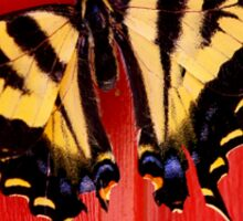 tiger swallowtail butterfly on unusual background Sticker