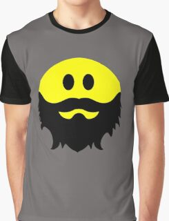 Bearded Smiley Face Graphic T-Shirt