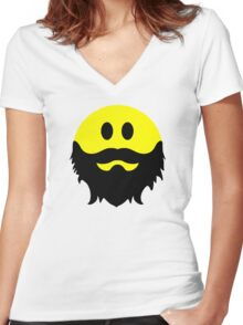 Bearded Smiley Face Women's Fitted V-Neck T-Shirt