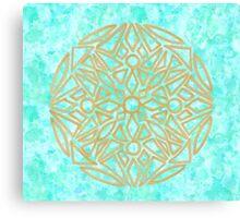 Golden Mandala in alpine lake - One Mandala A Day Canvas Print