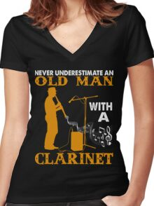 Never Underestimate An Old Man with a Clarinet Women's Fitted V-Neck T-Shirt