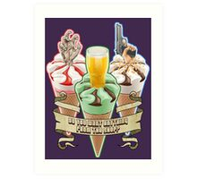 Three Flavours Cornetto Trilogy with banner Art Print