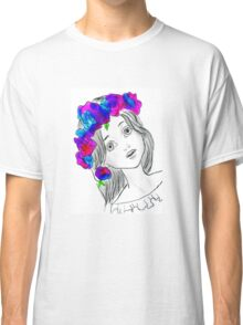 Pretty Girl With Pretty Flowers Classic T-Shirt