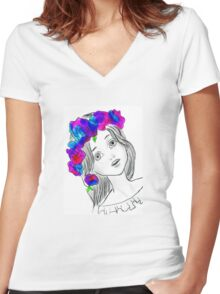 Pretty Girl With Pretty Flowers Women's Fitted V-Neck T-Shirt