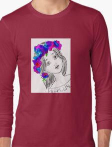 Pretty Girl With Pretty Flowers Long Sleeve T-Shirt