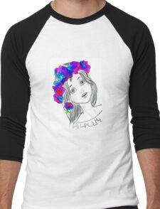Pretty Girl With Pretty Flowers Men's Baseball ¾ T-Shirt