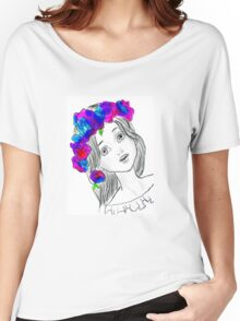 Pretty Girl With Pretty Flowers Women's Relaxed Fit T-Shirt