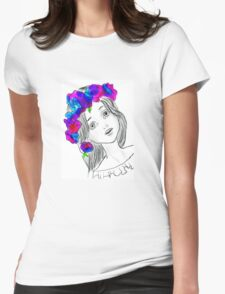 Pretty Girl With Pretty Flowers Womens Fitted T-Shirt