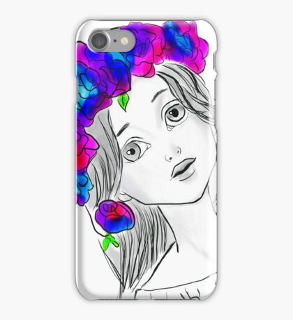 Pretty Girl With Pretty Flowers iPhone Case/Skin