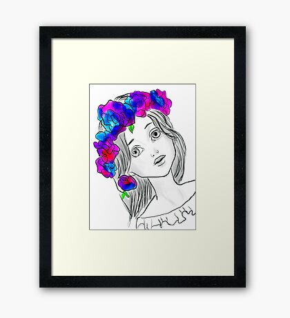 Pretty Girl With Pretty Flowers Framed Print