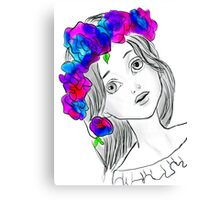 Pretty Girl With Pretty Flowers Canvas Print