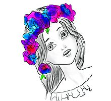 Pretty Girl With Pretty Flowers Photographic Print