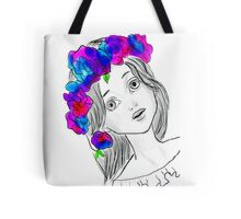 Pretty Girl With Pretty Flowers Tote Bag