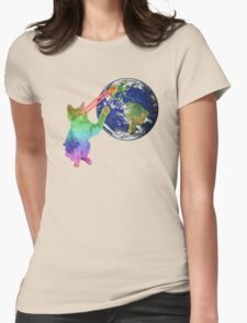 Laser-Eyes Cat - Psychedelic Womens Fitted T-Shirt