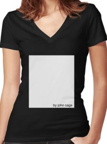 by john cage w/ white box Women's Fitted V-Neck T-Shirt