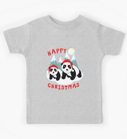 Cute Happy Christmas Panda Bears Snow Scene Kids Tee