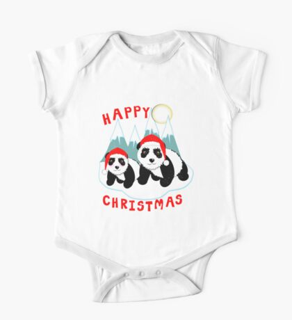 Cute Happy Christmas Panda Bears Snow Scene One Piece - Short Sleeve