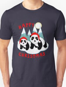 Cute Happy Christmas Panda Bears Snow Scene Unisex T-Shirt