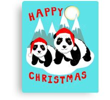 Cute Happy Christmas Panda Bears Snow Scene Canvas Print