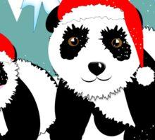 Cute Happy Christmas Panda Bears Snow Scene Sticker