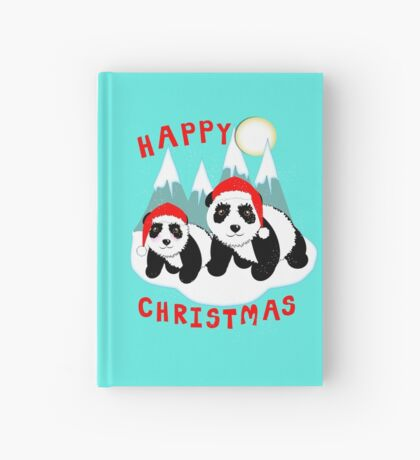 Cute Happy Christmas Panda Bears Snow Scene Hardcover Journal