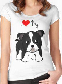Cute Little Boston Terrier Puppy Dog Women's Fitted Scoop T-Shirt