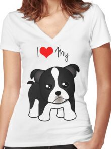 Cute Little Boston Terrier Puppy Dog Women's Fitted V-Neck T-Shirt