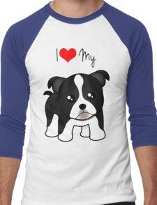 Cute Little Boston Terrier Puppy Dog Men's Baseball ¾ T-Shirt