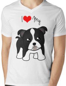 Cute Little Boston Terrier Puppy Dog Mens V-Neck T-Shirt