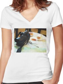 Photographers break in watercolor Women's Fitted V-Neck T-Shirt