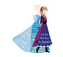 Elsa and Anna with Lyrics Photographic Print