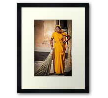 old  indian woman  Framed Print