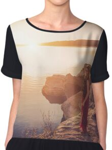 woman standing on the edge of the lake at sunset Chiffon Top