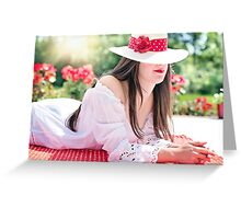 Beautiful woman wearing a hat in summer Greeting Card