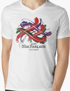 Clan MacFarlane - Prefer your gift on Black/White, let us know at info@tangledtartan.com Mens V-Neck T-Shirt