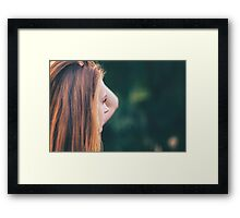 Portrait of yong pretty beautiful girl in soft colors Framed Print