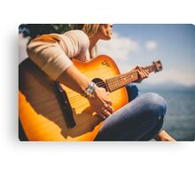 Woman playing guitar Canvas Print