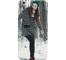 Two women are playing in the snow iPhone Case/Skin