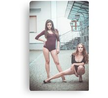 Fashion shoot of two young sexy striptease dancer Canvas Print